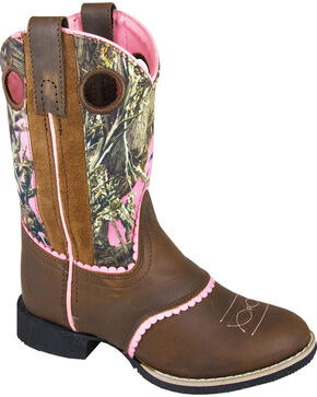 Smoky Mountain Girls' Ruby Belle Camo Western Boots - Round Toe, Brown, hi-res