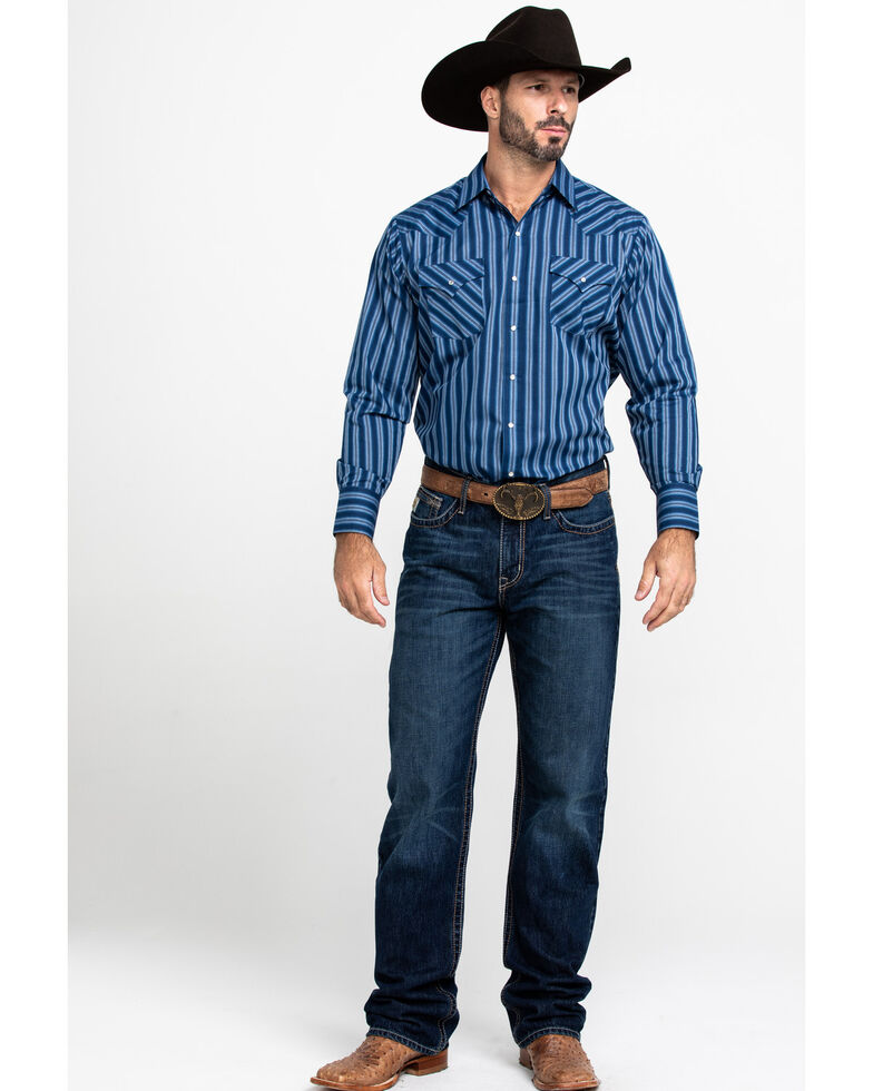 Ely Cattleman Men's Textured Multi Striped Long Sleeve Western Shirt , Multi, hi-res