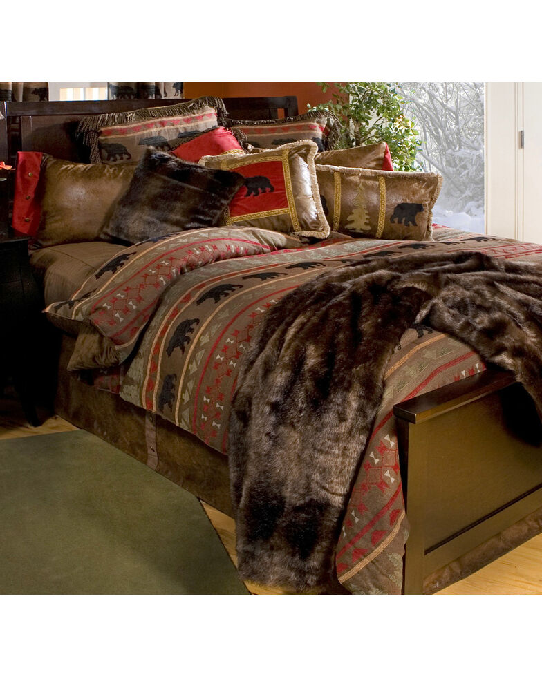 Carstens Bear Country Queen Bedding - 5 Piece Set, Red, hi-res