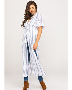 White Crow Women's Stripe Reese Duster , White, hi-res
