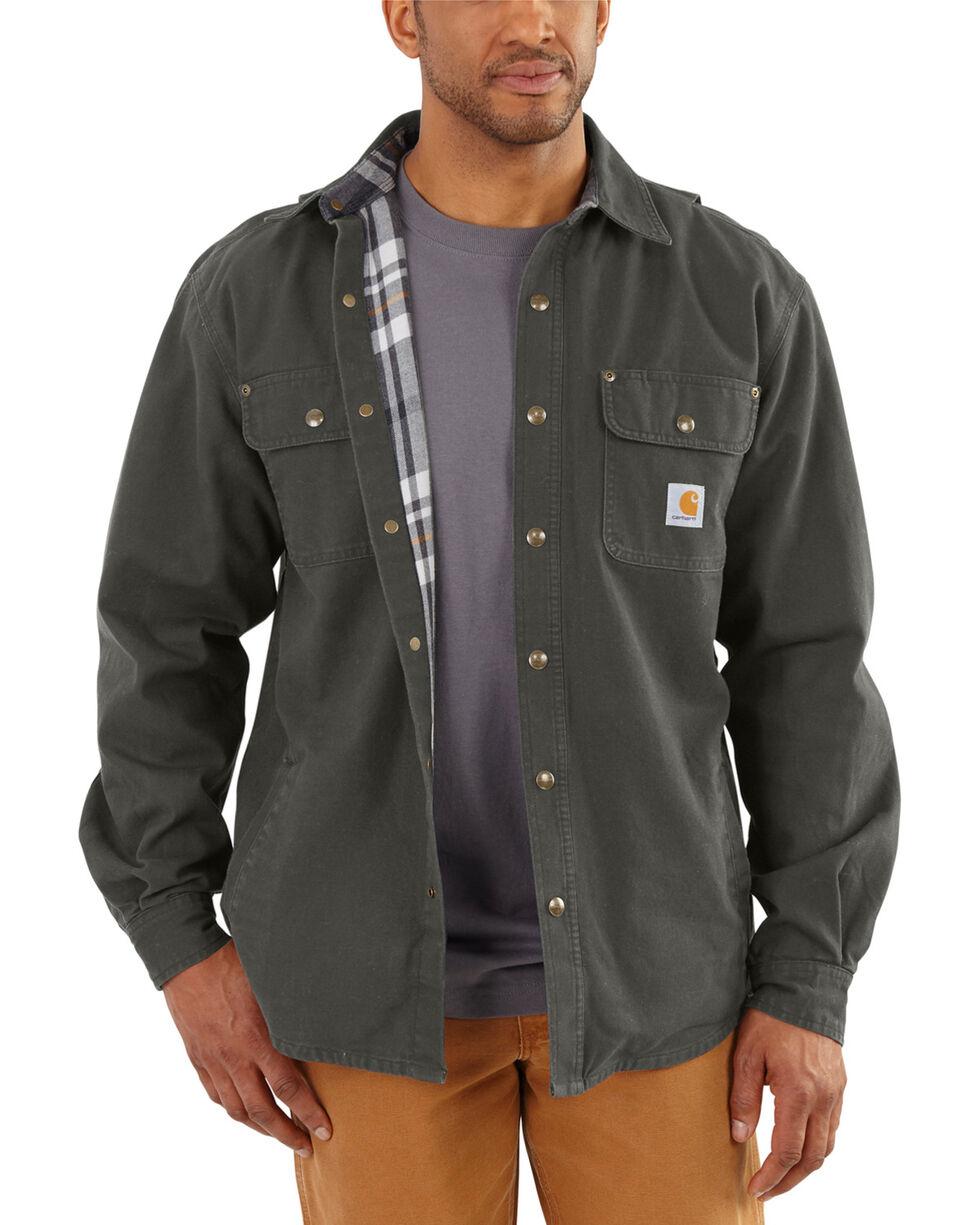 Carhartt Men's Weathered Canvas Shirt Jacket, Bark, hi-res