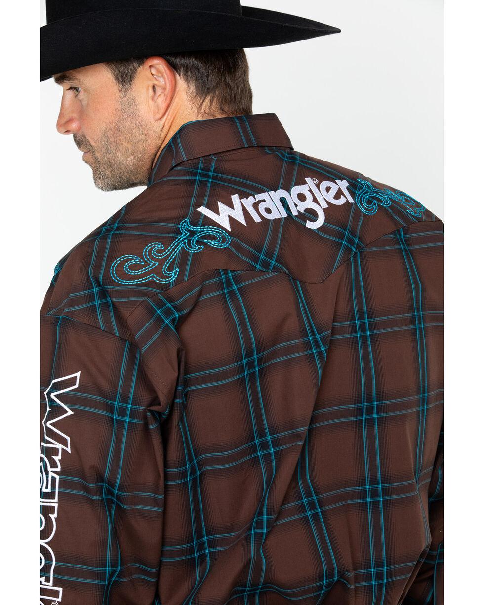 Wrangler Men's Plaid Embroidered Logo Long Sleeve Shirt , Brown, hi-res