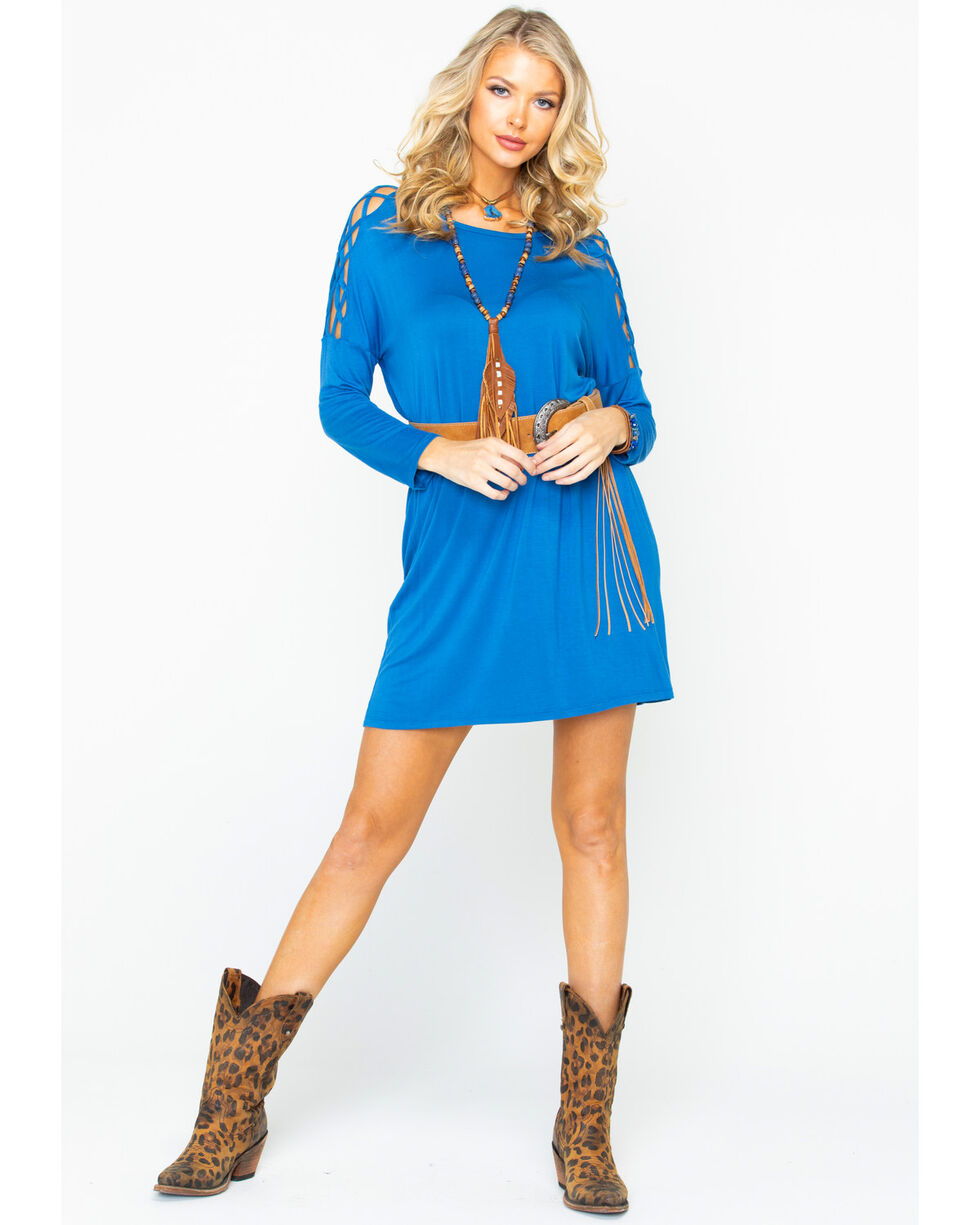 Panhandle Women's Blue Frisscross Sleeve Inset Dress, Blue, hi-res