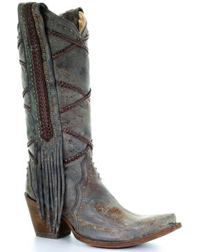 Corral Women's Braided Overlay and Studs Western Boots, Blue, hi-res