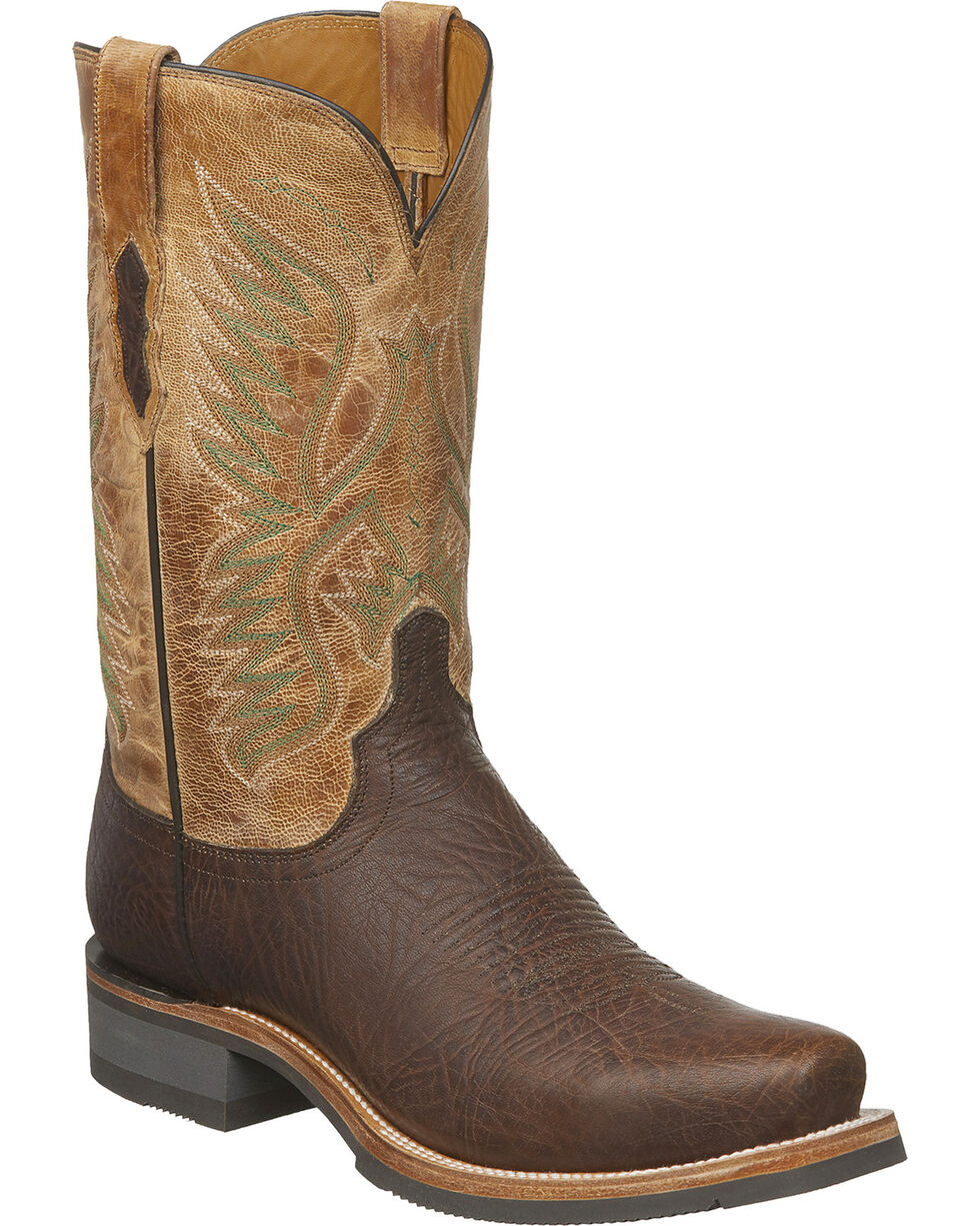 Lucchese Men's Handmade Cooper Brown Bull Shoulder Western Boots - Snip Toe, Brown, hi-res