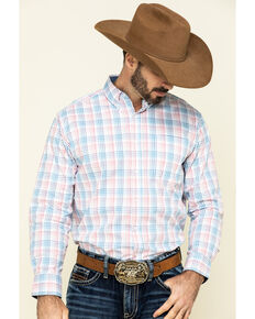 Ely Cattleman Black Label Men's Coral Med Plaid Long Sleeve Western Shirt , Coral, hi-res