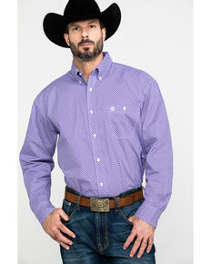 George Strait By Wrangler Men's Multi Geo Print Long Sleeve Western Shirt , Purple, hi-res