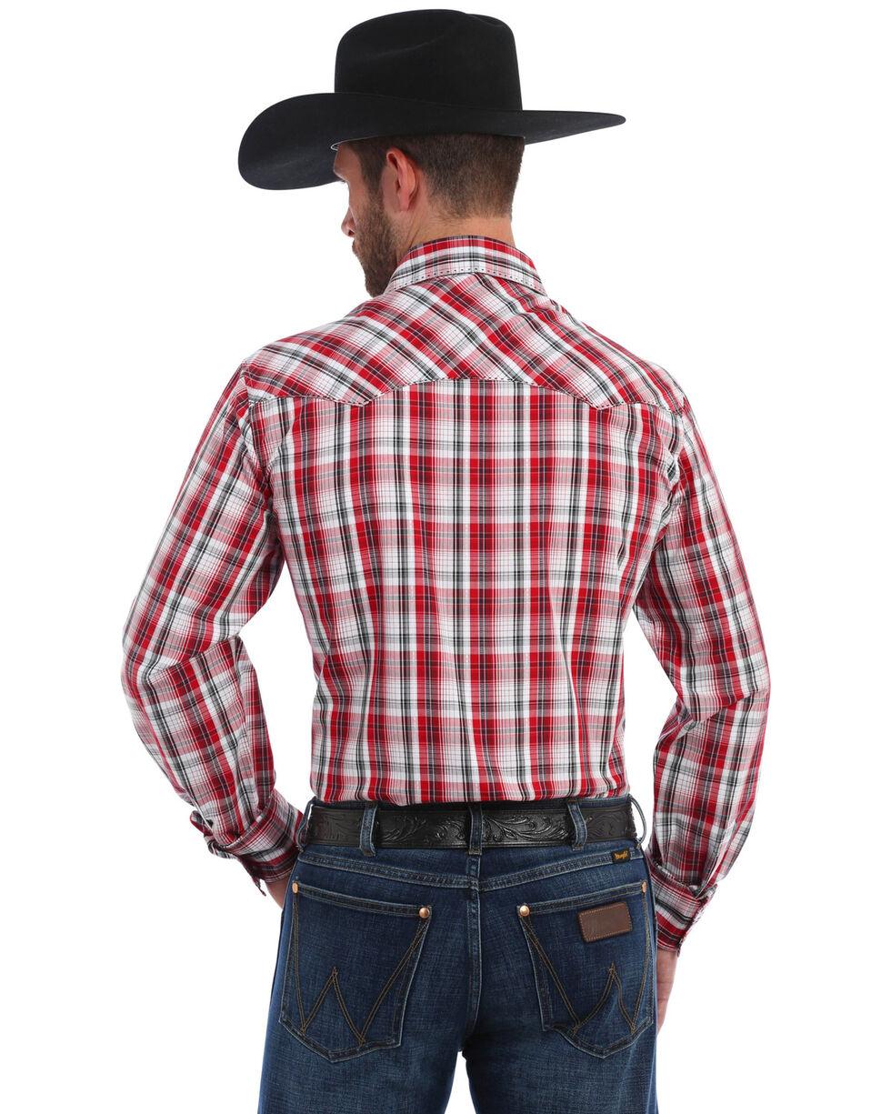 Wrangler Men's Red Plaid Fashion Snap Long Sleeve Western Shirt, Red, hi-res