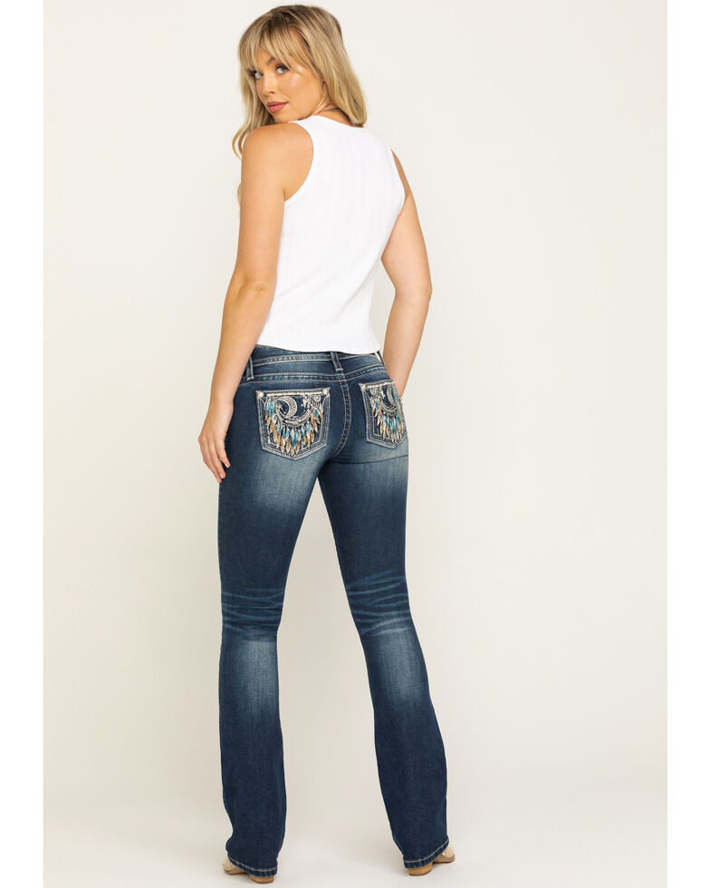 Miss Me Women's Medium Crescent Moon Dreamcatcher Chloe Bootcut Jeans, Blue, hi-res