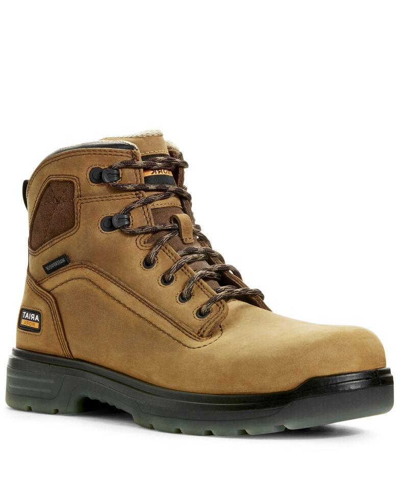 Ariat Men's Turbo Waterproof Work Boots - Soft Toe, Bark, hi-res