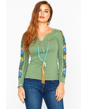 Idyllwind Women's New Frontier Henley Long Sleeve Top , Olive, hi-res