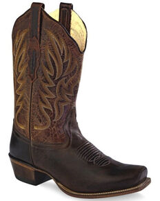 Old West Women's Distressed Western Boots - Wide Square Toe, Brown, hi-res