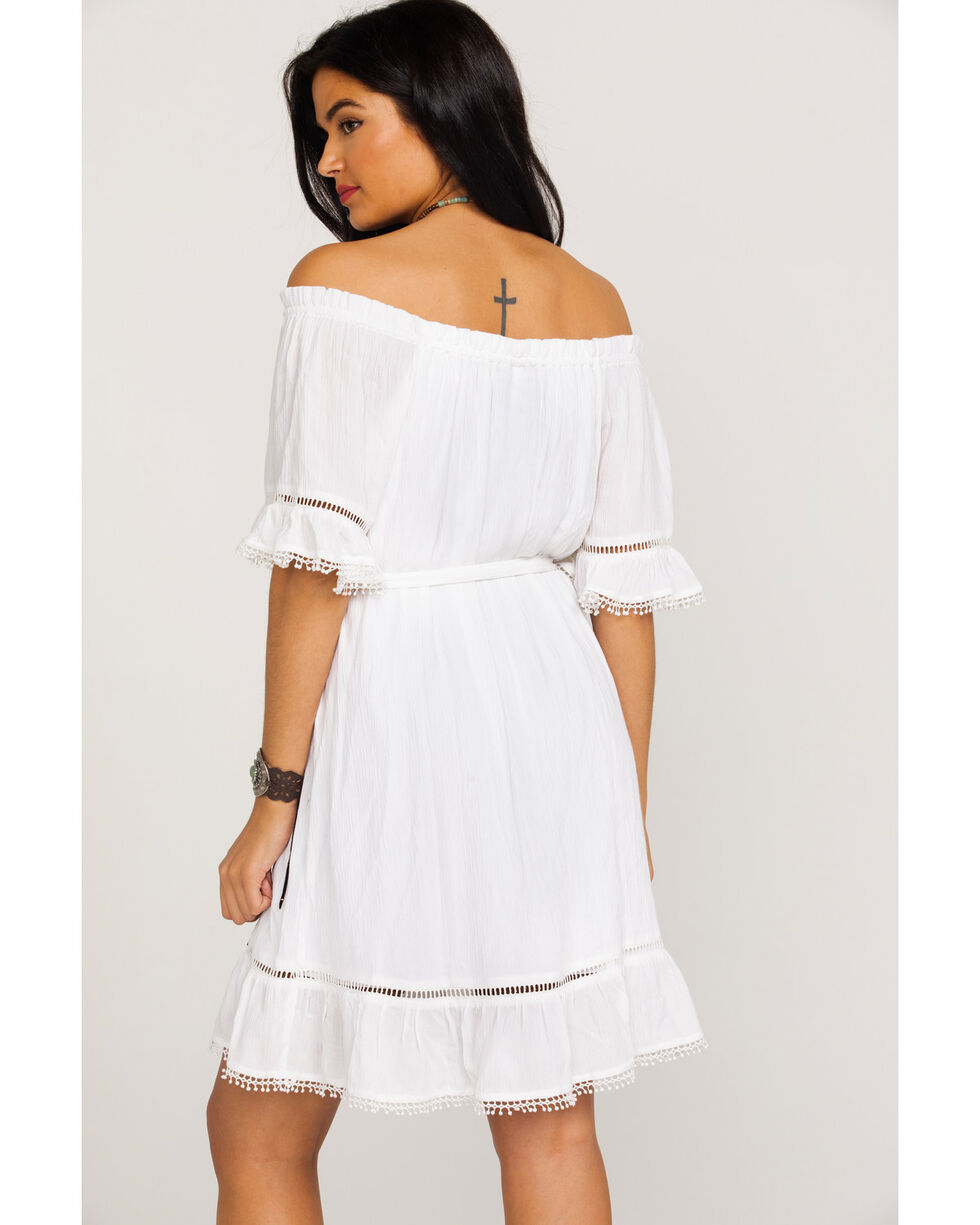 Wrangler Women's Ruffle Peasant Lace Inset Off Shoulder Dress , White, hi-res