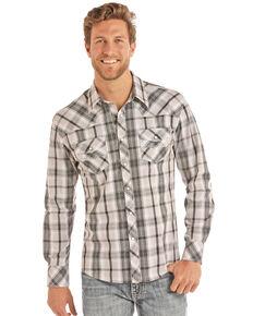 Rock & Roll Cowboy Men's Grey Crinkle Poplin Plaid Long Sleeve Western Shirt , Grey, hi-res