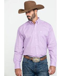 Ariat Men's Foothill Small Plaid Long Sleeve Western Shirt - Big , Purple, hi-res