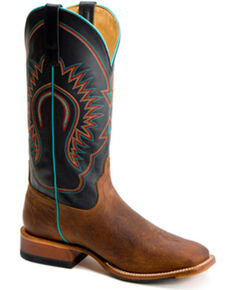 Horse Power Men's Bison Western Boots - Wide Square Toe, Brown, hi-res