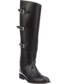 Lucchese Women's Handmade Bruna Black Buckle Fashion Boots - Round Toe, Black, hi-res