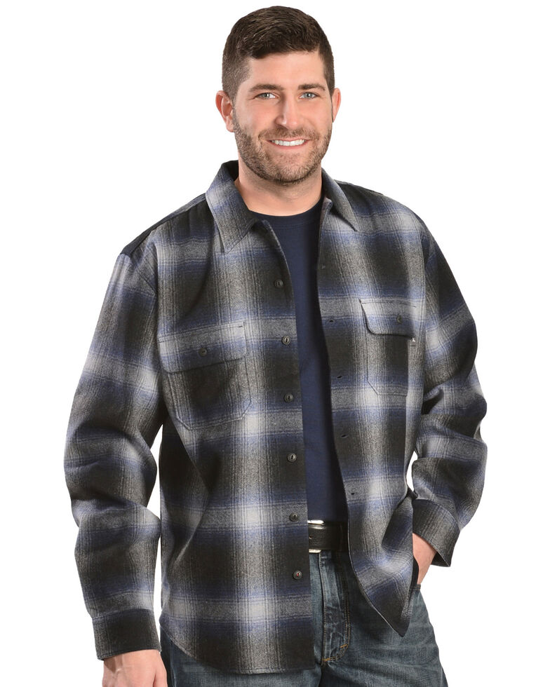 Woolrich Bering Blue Ombre Plaid 7-Oz Wool Shirt Jacket, Blue, hi-res