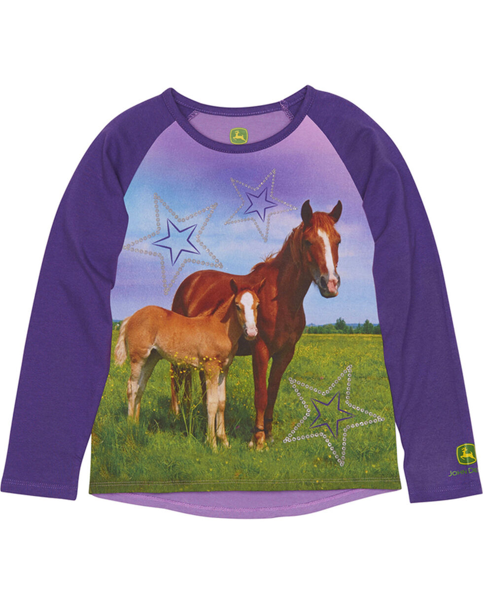 John Deere Toddler Girls' Purple Two Horses T-Shirt , Purple, hi-res