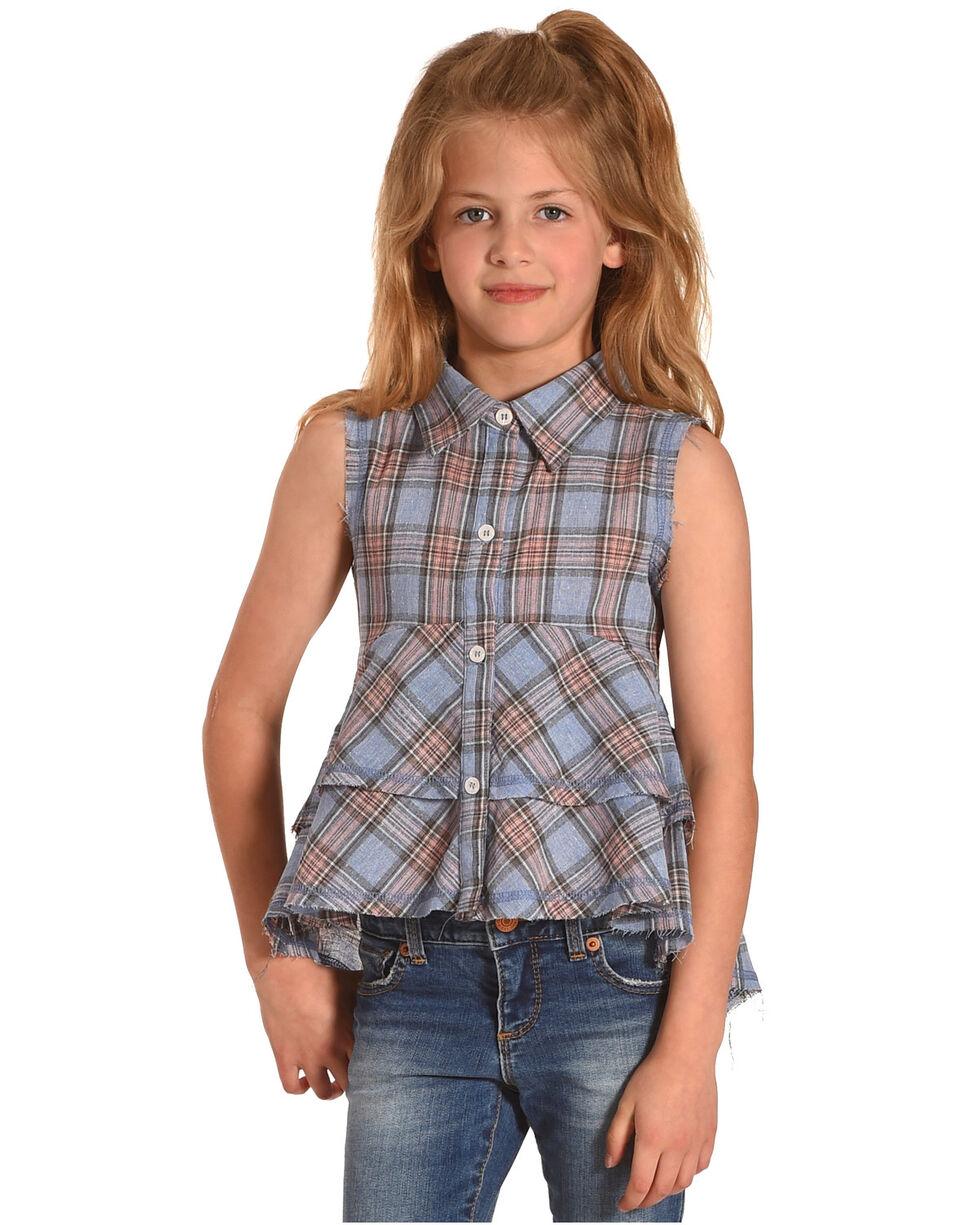 Idol Mind Girls' Blue Plaid Studded Frilly Shirt, Blue, hi-res
