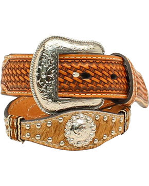 Nocona Boys' Scallop Calf Hair Ribbon Belt, Natural, hi-res