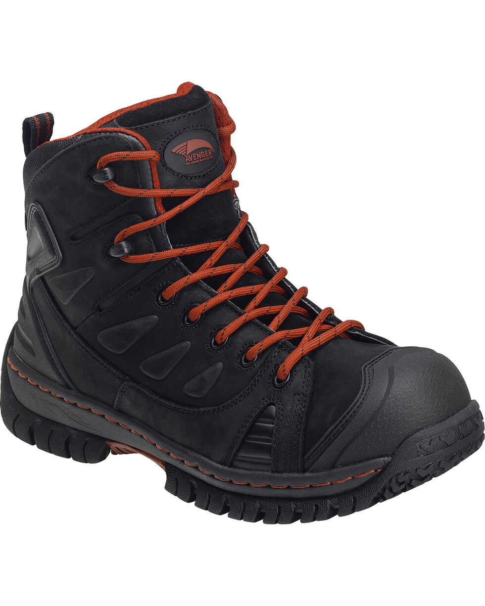 "Avenger Women's 6"" Lace Up Steel Toe Work Boots, Black, hi-res"