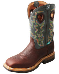 Twisted X Men's Lite Cowboy Waterproof Western Work Boots - Alloy Toe, Cognac, hi-res
