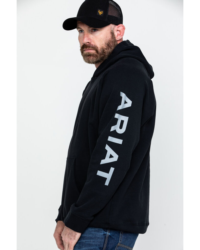Ariat Men's Black FR Primo Fleece Logo Work Hooded Sweatshirt - Tall , Black, hi-res