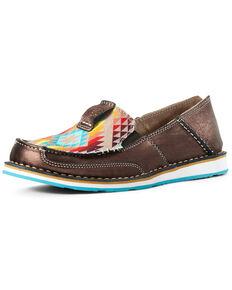 Ariat Women's Rainbow Aztec Cruiser Shoes - Moc Toe, Brown, hi-res