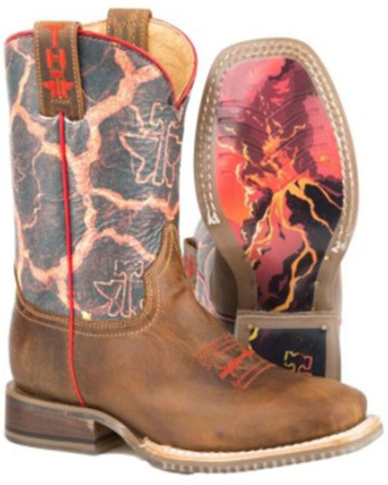 Tin Haul Girls' Volcanic Western Boots - Square Toe, Brown, hi-res
