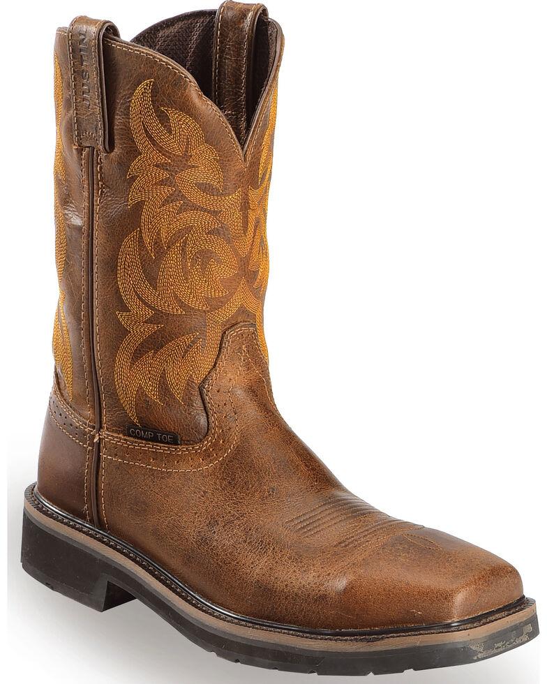 "Justin Men's 11"" Composition Toe Western Work Boots, Tan, hi-res"