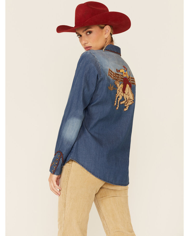 Tasha Polizzi Women's Indigo Carson Embroidered Long Sleeve Shirt, Blue, hi-res
