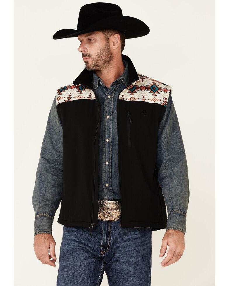 HOOey Men's Black Aztec Yoke Zip-Front Softshell Vest  , Black, hi-res