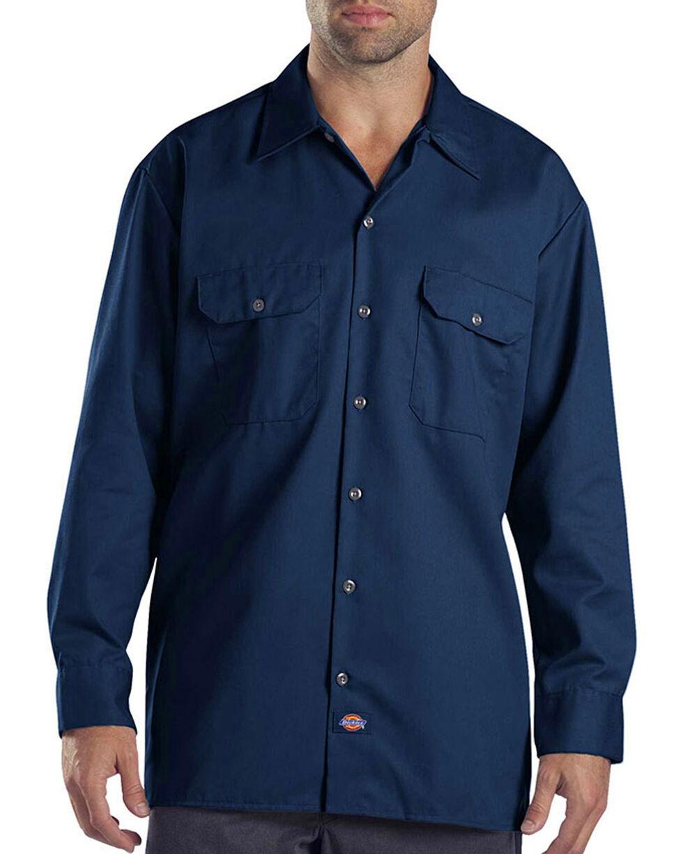 Dickies Long Sleeve Work Shirt - FOLDED, Navy, hi-res