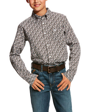 Ariat Boys' Hartings Print Western Shirt, Multi, hi-res