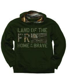 Buck Wear Men's Freedom Flag Hooded Sweatshirt , Forest Green, hi-res