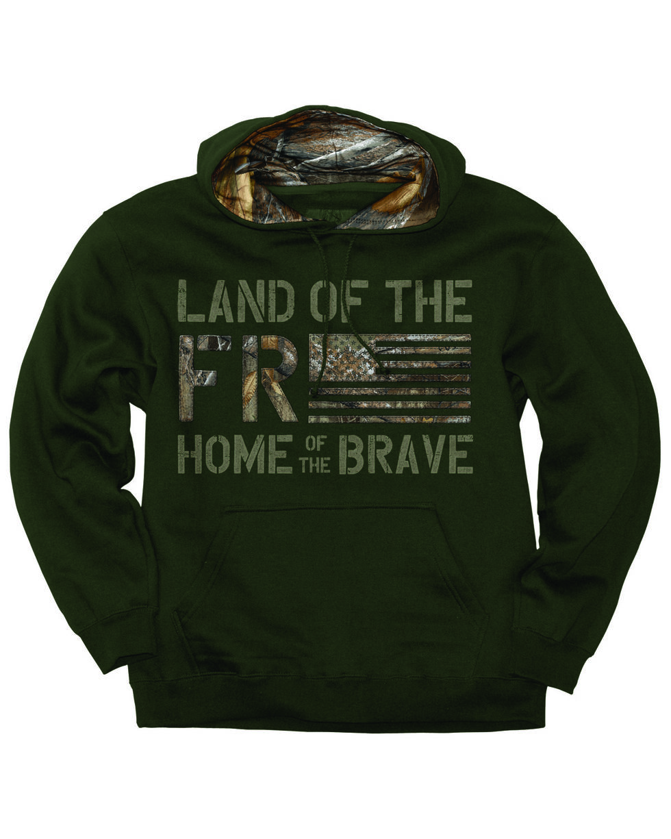 Buck Wear Men's Freedom Flag Hooded Pullover Sweatshirt , Forest Green, hi-res