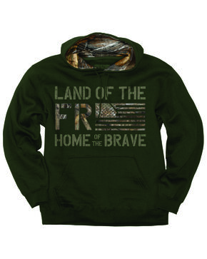 Buck Wear Men's Freedom Flag Hooded Pullover Sweatshirt - Big , Forest Green, hi-res