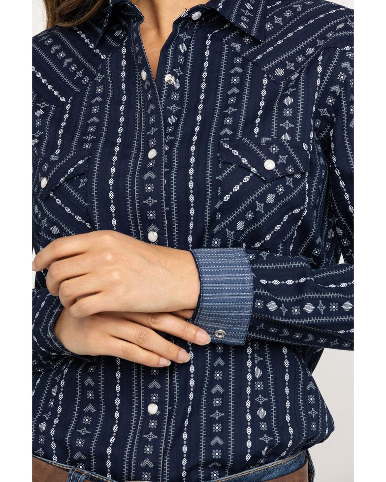 Rough Stock by Panhandle Women's Kaibab Aztec Stripe Long Sleeve Western Shirt, Navy, hi-res
