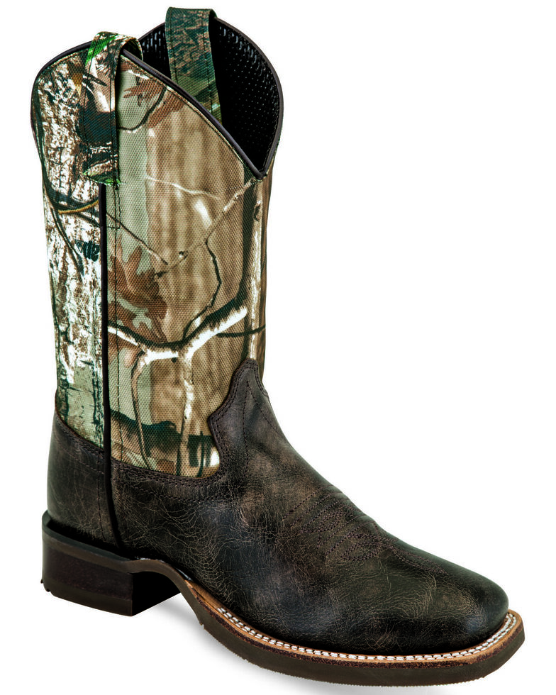 Old West Boys' Camo Shaft Western Boots - Wide Square Toe, Chocolate, hi-res
