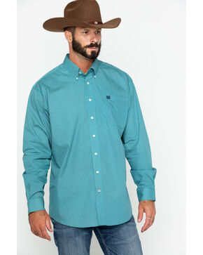 Cinch Men's Geo Print Button Long Sleeve Western Shirt , Teal, hi-res