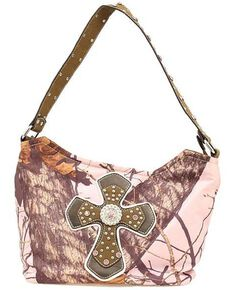 Nocona Belt Co. Women's Mossy Oak Rhinestone Cross Handbag, Pink, hi-res