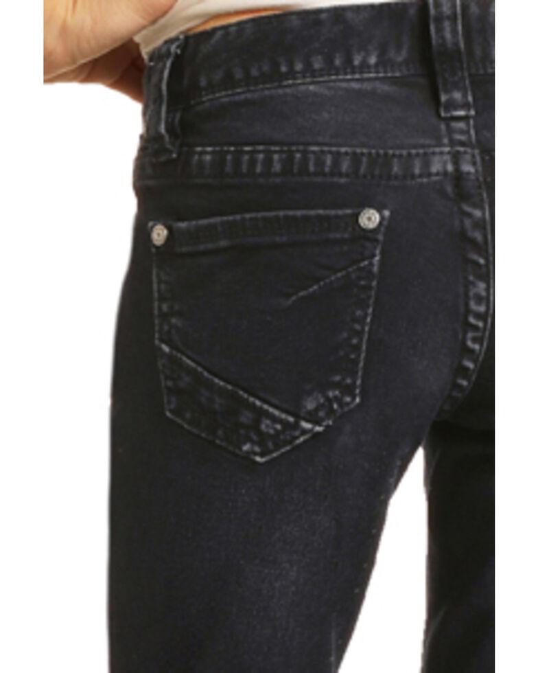 Rock & Roll Denim Girls' Dark Wash Button Hem Trousers, Blue, hi-res