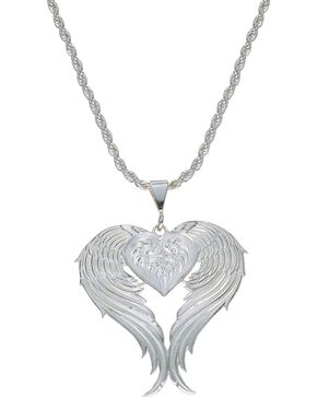 Montana Silversmiths Women's Heart & Wings Pendant Necklace, Silver, hi-res