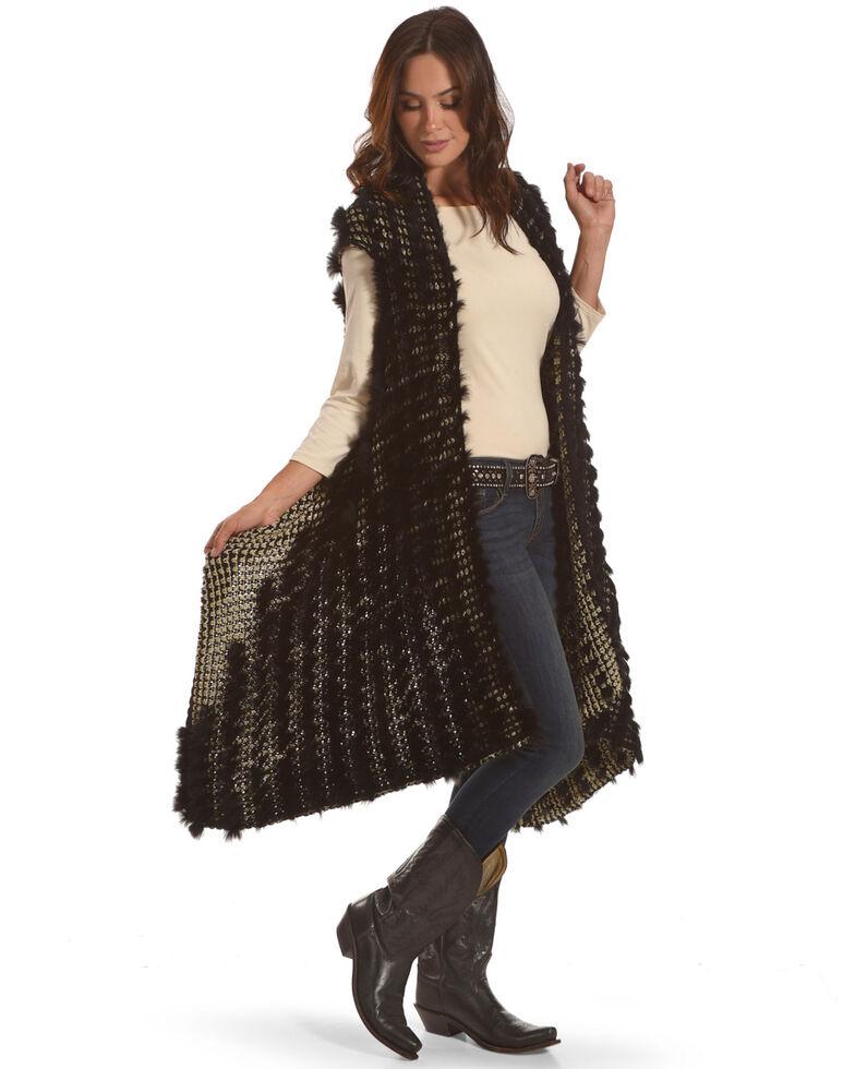 Tesoro Moda Women's Black Rabbit Fur Vest , Black, hi-res