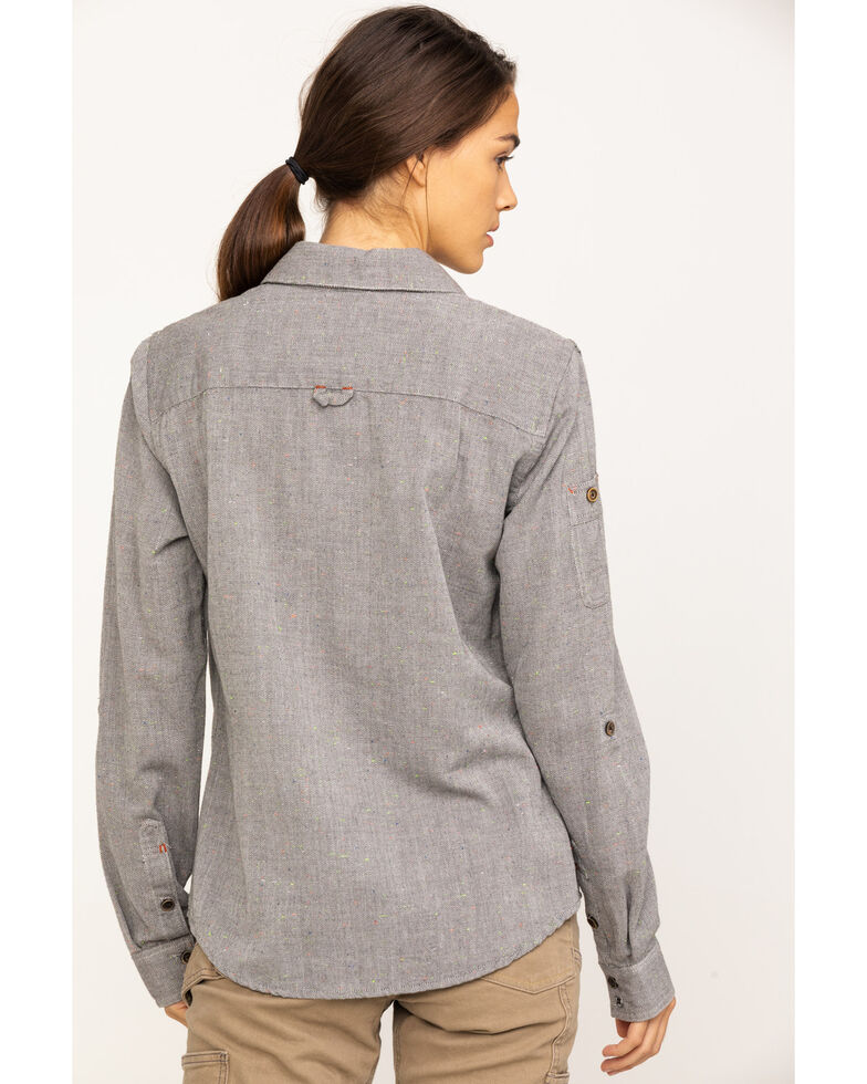 Dovetail Workwear Women's Solid Givens Long Sleeve Work Shirt, Dark Grey, hi-res
