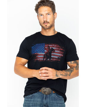 Cody James Men's Rodeo Flag T-Shirt, Black, hi-res