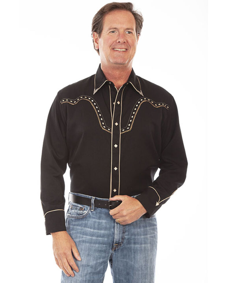 Scully Men's Black Diamond Embroidered Long Sleeve Western Shirt , Black/white, hi-res