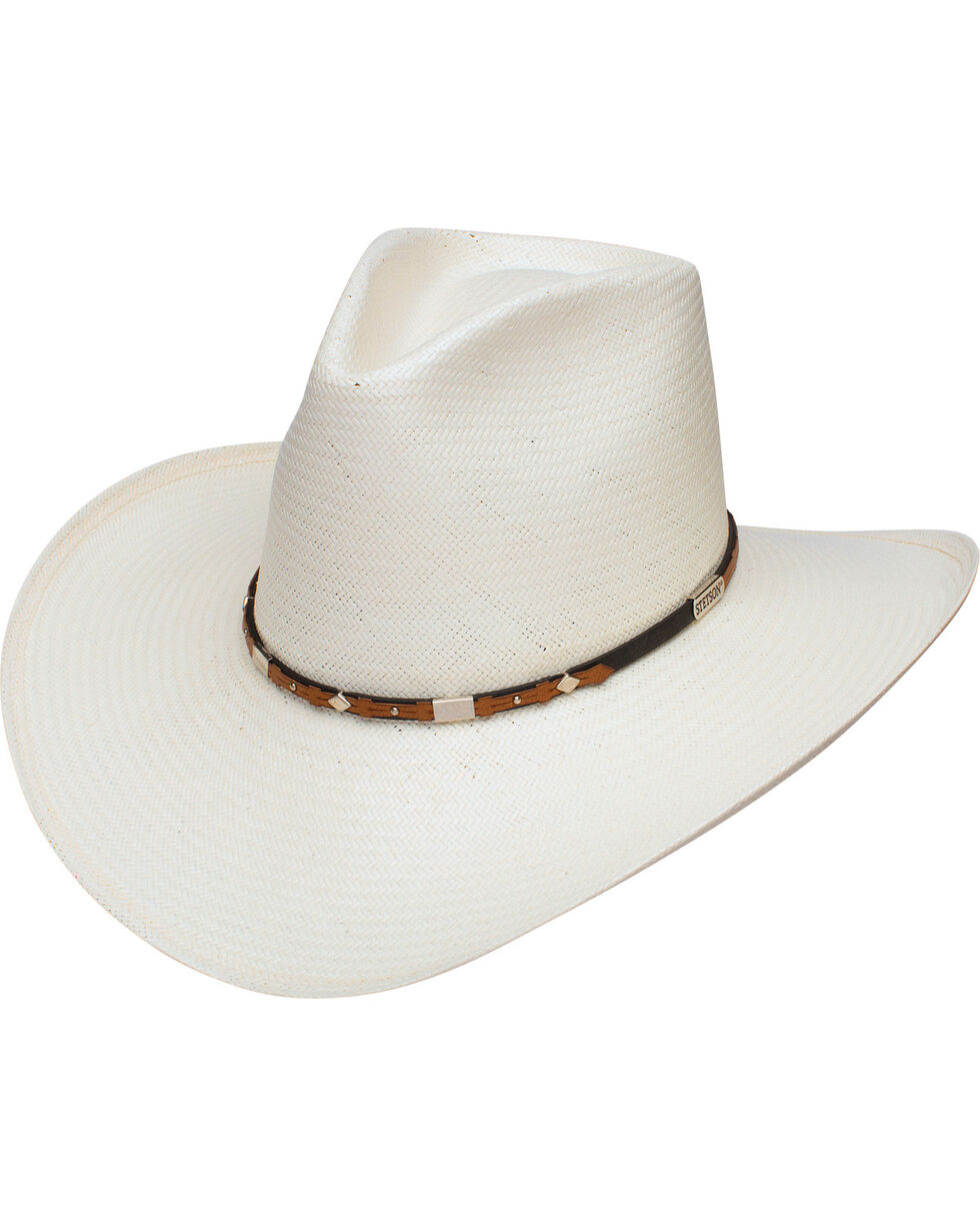 Stetson Men's Silver Horn 8X Straw Cowboy Hat, Natural, hi-res