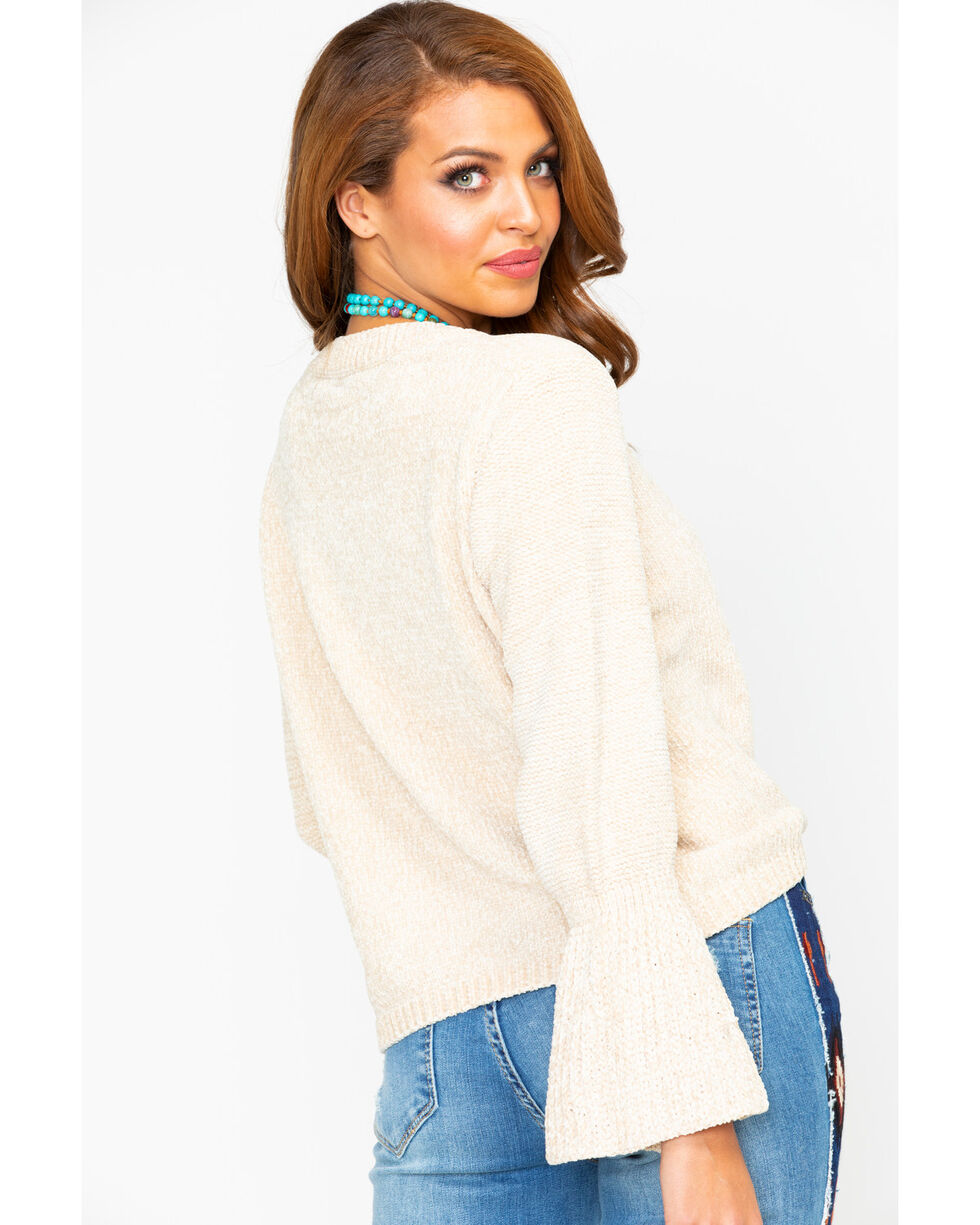 Elan Women's Natural Chenille Bell Sleeve Sweater, Natural, hi-res